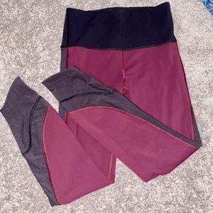 Lululemon leggings 7/8 maroon with black mesh